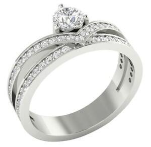 Round Diamond Anniversary Ring I1 G 1.05 Ct 14K White Yellow Rose Gold 16.10mm