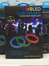 auraLED Glow Strands 6½ Ft Flexible Waterproof Battery-Operated Neon Rope Lights