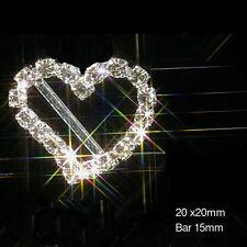 10 X DIAMANTE CURVED HEART SILVER RHINESTONE WEDDING CARD RIBBON SLIDER BUCKLES