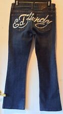 Ed Hardy by Christian Audigier Rhinestone Logo Boot Cut Blue Women Jeans Size 27