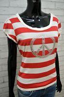 MOSCHINO Maglia Bianca Donna Taglia 46 Maglietta Manica Corta Shirt Women's Slim