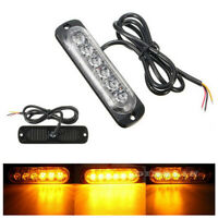2x 6 Led Barra Luz Flash emergencia coche vehículo Warning Strobe AMARILLO AMBAR
