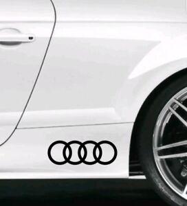 Audi rings logo decals pair of 2 stickers 20cm x 7cm