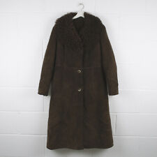 Vintage Brown Leather Shearling Sherpa Trench Coat Size Womens Medium /R40029
