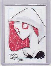 """SPIDER GWEN 3""""4"""" Original Sketch Art Card 1/1 Comic Artist Francine Delgado 2015"""