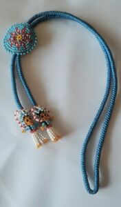 "Beautiful Rare Vintage Estate 1970's Cherokee Indian Beaded Bolo Tie 33"""