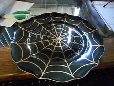 """New 222 Fifth Golden Spider Web Black and Gold Halloween 10 1/4"""" Plate (s)"""