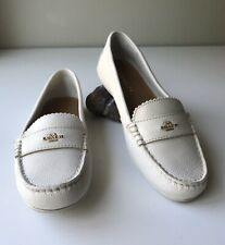 Coach Odette Ivory Pebble Grain Leather Loafers 8 38 Flats Slip On