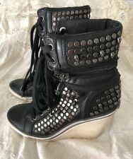 Ash Skull Studded Black Leather Lace up High Top/ Heeled Sneakers/Booties 36