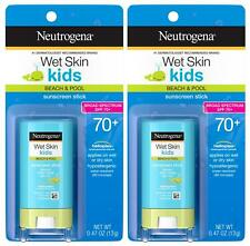 2PK Neutrogena Wet Skin Kids Beach & Pool Sunscreen Stick SPF 70+ (0.47 oz each)