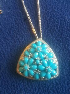 Arizona Sleeping Beauty Turquoise Necklace  in Platinum Over Sterling Silver