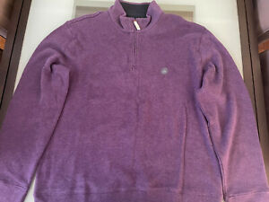 NWT LANDS' END Sweater Plum Purple Concord Grape Heather Pullover Large Rib Neck