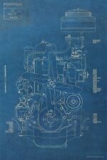 Vintage Chevy Engine BLUEPRINT Antique Chevrolet Motor Mancave Art Poster Garage