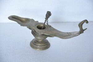 1930's Old Brass Engraved Solid Heavy Fine Quality Oil Lamp With Holy Water Pot