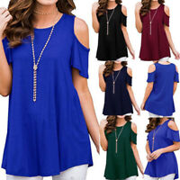 Womens Summer Cold Shoulder Tunic Top Short Sleeve Blouse Casual Loose T Shirts