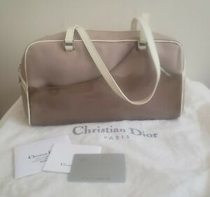 Christian Dior Beige/Khaki, Canvas and PVC Satchel,  cream Patent Leather Trim