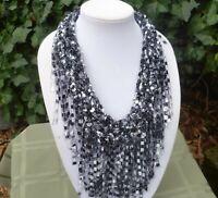 Handmade Knit Crochet Scarf/necklace -infinity scarf-- fringe scarf--