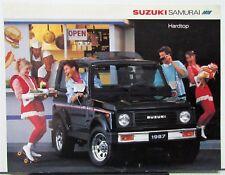 1987 Suzuki Samurai Standard and Deluxe Hardtop Color Sales Data Sheet Original