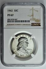 1962 50c Silver Proof Franklin Half Dollar Ngc Pf 67