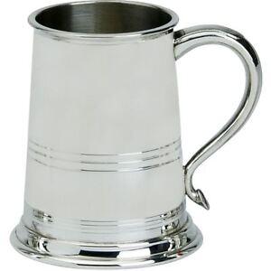 Pewter Tankard Bath Style Banded 1 Pint Ornate Beer Mug Engravable Glass Base
