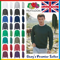 Mens Plain Sweatshirt • Fruit of the Loom Classic Top • Raglan Jumper 17 Colours