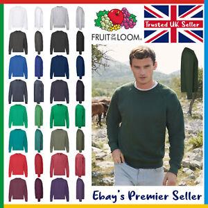 Mens Plain Sweatshirt • Fruit of the Loom Classic Top • Raglan Jumper 17 Colours
