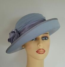 Ladies Wedding Hat Races Mother Bride Ascot Blue Lilac Satin Band Lined