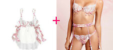 34B Victoria's Secret Designer Collection Silk Tulle Floral Lace Bra + Slip Set