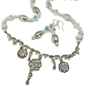 Reclaimed Treasures-Clear Rhinestone & Glass Necklace & Earrings By SoniaMcD