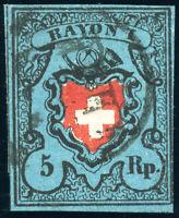 SCHWEIZ 1850, Rayon I, MiNr. 7 II, gestempelt, Attest Trüssel, Mi. 480,-
