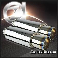 "2PC 4"" N1 Titanium Burn Burnt Tip Exhaust Muffler w/ Silencer"