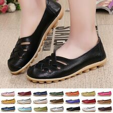 Casual Womens Genuine Leather Ballet Flats Shoes Oxfords Hollow Lady Loafers AU