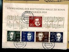 CQ236 Germany 1959 *BEETHOVEN HALL MINIATURE SHEET* Used On Cover MUSICIANS
