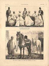Ambassadeurs Arabes du Maroc Cheval Jules Grévy au Roi du Maroc GRAVURE 1885