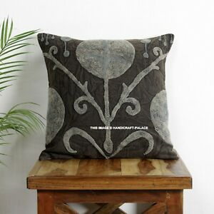 """Floral Uzbek Suzani Round Cushion Cover Indian Embroidered Decorative Pillow 16"""""""
