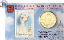 Vatikan 50 Cent 2011 Benedikt XVI. in Coin Card Nr. 1 mit 0,75 Euro Briefmarke