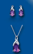 Amethyst and Diamond Pendant and Earrings Set Solid Sterling Silver Twist