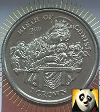 1997 ISLE OF MAN 1 ONE CROWN COIN COVER BIRTH OF JESUS CHRIST + COA