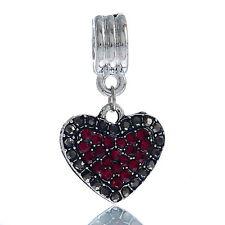 January Birthstone Heart Dark Red Rhinestone Dangle Charm for European Bracelets