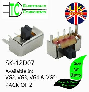 SK-12D07 Mini PCB mount slide switches 90' Available in VG2,3,4&5 (2 PACK)