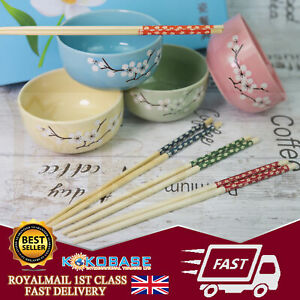 Boxed Gift Set 4 Pairs Of Ceramics Chinese Chopsticks with Rice Bowls Gift