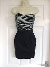 Vestido de verano ajuste de tamaño 8 Negro Gris para Mujer fiesta cóctel de invierno señoras ocasión
