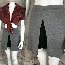 Vintage 60s 70s Double Knit Polyester Micro Mini Skirt Shorts Skort Gray Mod M/L