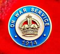 ON WAR SERVICE 1914 Enamel Badge great for Poppy Day Veteran WW1