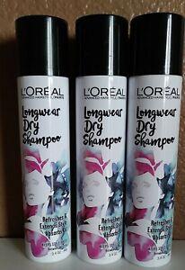 Lot of 3 L'oreal Longwear Dry Shampoo 3.4 oz each