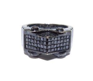 14k Gold Black Rhodium 1.68ct Black Princess & Round Cut Diamond Ring