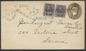 1922 Mono Road Station (Peel) Ont to Sarnia, Registered, #EN30a PSE + Pair #112