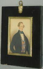 Antique Miniature Portrait  Painting Man REGENCY Picture Frame Charles Herve II