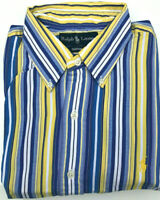 Mens Ralph Lauren Shirt Custom Fit L/S NEW Striped Blue Size 16 1/2 - Large