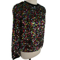 John Lewis Age 12 (Size 8) Sequinned Multicoloured Long Sleeve Jumper Top